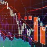 Рынок с понижательной тенденцией - диаграммы и диаграммы фондовой биржи Стоковые Фотографии RF