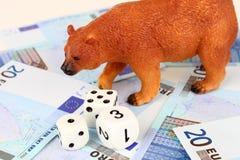 Рынок с понижательной тенденцией евро Стоковое Фото