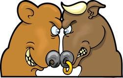 рынок тенденцией к повышению курсов медведя Стоковые Изображения RF