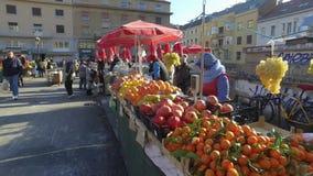 Рынок фермеров Загреба Dolac сток-видео