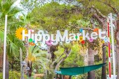 Рынок хиппи Punta Arabi известное место на острове где художники продают handmade ремесла и сувениры стоковое фото rf