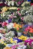 рынок цветков хуторянин свежий напольный стоковое фото rf