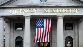 Рынок Quincy, городской Бостон, США, сток-видео