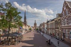 Рыночная площадь с людьми в Culemborg Стоковое Фото