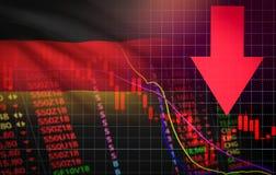 Рыночная цена кризиса валютного рынка фондовой биржи Германии красная вниз с дела падения диаграммы и падение продаж кризиса дене иллюстрация штока