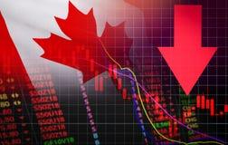 Рыночная цена кризиса валютного рынка фондовой биржи Канады красная вниз с дела падения диаграммы и недостаток предпосылки кризис иллюстрация штока