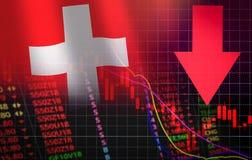 6 рыночных цен швейцарского кризиса запаса валютного рынка красных вниз с дела падения диаграммы и недостатка предпосылки кризиса иллюстрация штока