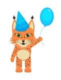 Рысь младенца в голубой крышке с голубым оживлённым шариком в ноге Открытка для мальчика дня рождения Стоковые Фото