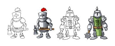 Рыцари мультфильма средневековые уверенные вооруженные, изолированные на белых расцветках предпосылки стоковые изображения rf