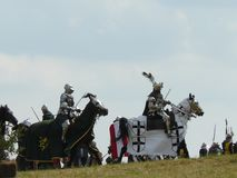 Рыцари на реконструкции сражения Grunwald Стоковая Фотография