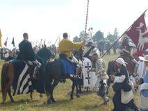 Рыцари на реконструкции сражения Grunwald Стоковое Изображение