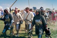 рыцари поля брани приходя к Стоковое Фото