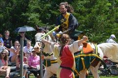 Рыцарь биться на фестивале ренессанса стоковые фото
