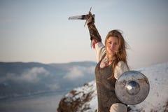 Рыцарь девушки стоковые изображения