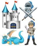 Рыцарь и дракон иллюстрация штока
