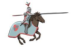 Рыцарь на средневековом турнире рыцарей иллюстрация вектора