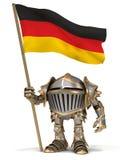 Рыцарь с немецким флагом Стоковая Фотография