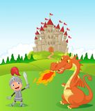 Рыцарь шаржа с свирепым драконом Стоковые Фотографии RF