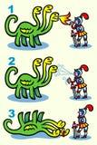 Рыцар-курильщик и дракон - иллюстрация Стоковые Фото