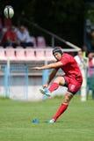 рэгби игрока шарика пиная Стоковые Фотографии RF