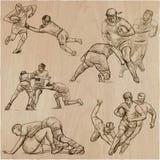 РЭГБИ - Нарисованное рукой собрание вектора Линия пакет искусства некоторого s бесплатная иллюстрация