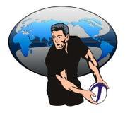 рэгби пасующего игрока шарика иллюстрация вектора