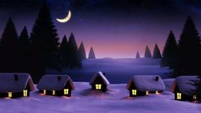 Рэй светлый проходить над снежными ландшафтом и хижинами сток-видео