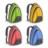 Рюкзаки вектора установленные красочные пешие Стоковые Фото
