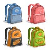 Рюкзаки детей вектора установленные красочные Стоковое Фото