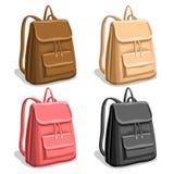 Рюкзаки женщины вектора установленные красочные Стоковые Изображения