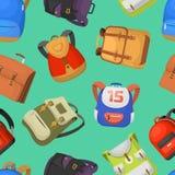 Рюкзак вектора сумок школы детей шаржа назад к предпосылке картины установленной иллюстрации рюкзака школы безшовной Стоковые Изображения RF