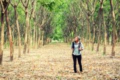 Рюкзак нося красивой молодой женщины идя в лес Стоковое Фото