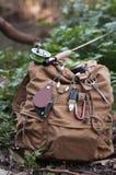 Рюкзак рыбной ловли мухы с талрепом стоковые фотографии rf