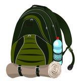 Рюкзак с бутылкой воды Стоковые Изображения RF