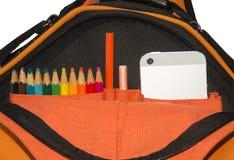 Рюкзак с телефоном Стоковые Фотографии RF