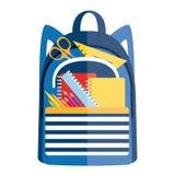 Рюкзак с школьными принадлежностями Назад к значку II школы иллюстрация вектора