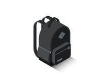 Рюкзак школы вектора равновеликий черный Стоковое Изображение
