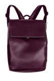 Рюкзак элегантного Бордо красный кожаный изолированный на белом backgrou Стоковые Фото