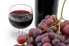 рюмка вина виноградины бутылки Стоковое Фото