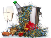 рюмки шампанского бутылки Стоковые Фото