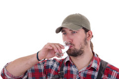 Рябиновка человека выпивая Стоковое фото RF