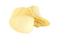 Рядок картофельной стружки и определяет Стоковые Изображения