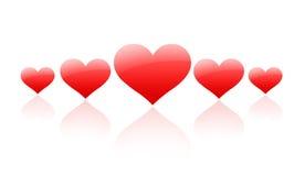 рядок красного цвета сердец Стоковое Фото