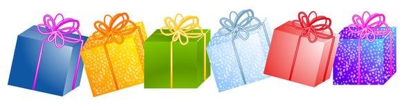 рядок подарков clipart рождества Стоковое Фото