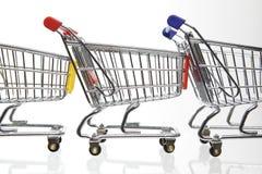 рядок ходя по магазинам 3 тележек Стоковое Изображение RF