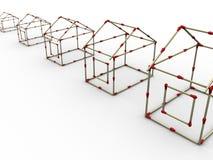 рядок 2 спичек домов Стоковые Фотографии RF