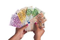ряд евро кредиток Стоковые Изображения