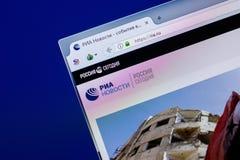 Рязань, Россия - 16-ое апреля 2018 - домашняя страница вебсайта информационного агентства RIA на дисплее ПК, url - RIA ru Стоковые Фото