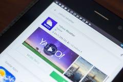 Рязань, Россия - 16-ое мая 2018: Значок или логотип app погоды Yahoo в списке передвижных apps Стоковая Фотография