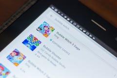 Рязань, Россия - 16-ое мая 2018: Значок или логотип app саги ведьмы 3 пузыря в списке передвижных apps Стоковые Изображения RF